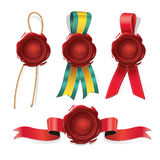 Set of red Wax seals. stock illustration