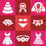 Set red wedding icons. Set wedding icons. Bell Dress garter wedding underwear coat cloak sash belt medal Flat on red background stock illustration