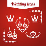Set red wedding icons. jewelry, earrings, necklace,. Set red wedding icons jewelry, earrings, necklace, tiara handbag barrette Flat on red background royalty free illustration