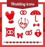 Set red wedding icons. jewelry, earrings, necklaces. Set red wedding icons. jewelry, earrings necklaces pillow for rings, wedding rings, umbrella wedding castle royalty free illustration