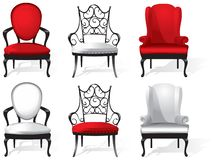 A set of red and white armchairs. Vector royalty free illustration