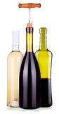Set from red and white bottles of wine isolated Stock Photos