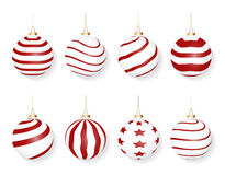 Set of red white christmas balls  on white background Stock Photo