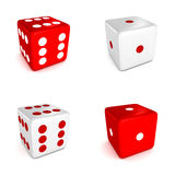 Set of red and white game dices Royalty Free Stock Photography