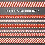 Set of red and white seamless caution tapes with Stock Photography