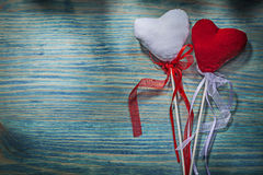 Set of red and white Valentine hearts on wooden background holid Stock Photos
