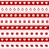 Set of red and white valentine's day icons,  illustration Royalty Free Stock Photos