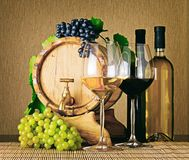 Set of red and white wine. Bottles, glasses and barrel. Set of red and white wine. Wine bottles, glasses of wine, wooden barrel and bunches of ripe grape on royalty free stock photos