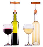 Set from red and white wine glasses, bottles Royalty Free Stock Photography