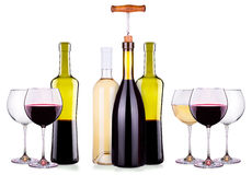 Set from red and white wine glasses, bottles Stock Image