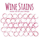 Set of red wine stains Royalty Free Stock Photo