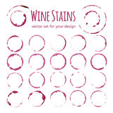 Set of red wine stains Stock Image