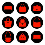 Set of red womens bags icons Royalty Free Stock Image