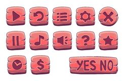Set of red wooden square buttons. Vector game icons royalty free illustration