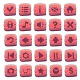 Set of red wooden square buttons. Vector game icons stock illustration