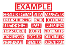 Set of red word stamps in a rectangular frame in grunge style. V. Ector illustration. Advertising and business words: approved; no limits; top secret; best Stock Image