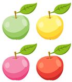 Set Of Red, Yellow, Pink And Green Apple Fruits With  Leaves. Vector illustration. Royalty Free Stock Photos