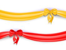 Set of red and yellow ribbons with bow and shadow.. Vector illustration Stock Images