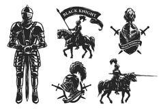Set średniowieczni rycerze Obraz Royalty Free