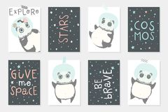 Set with 8 redy to use cards with cute pandas astronauts in helmets, planets, stars. stock illustration