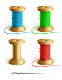 Set reel with thread and needle stock illustration