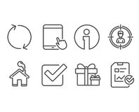 Refresh, Tablet pc and Headhunting icons. Surprise package, Checkbox and Report checklist signs. Set of Refresh, Tablet pc and Headhunting icons. Surprise Royalty Free Stock Photos