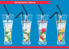 Set of refreshig drinks vector illustration. Stock Photography