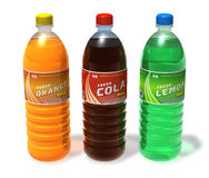 Set of refreshing drinks in plastic bottles. Isolated on white background Royalty Free Stock Images