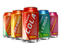 Set of refreshing soda drinks in metal cans royalty free illustration
