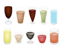 A Set of Refreshing Sweet Drink in Glass. An Illustration Collection of Soft Drink and Juice in Various Flavours and Colors Stock Photo