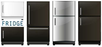 Set of refrigerators in different designs Royalty Free Stock Image