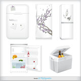 Set of refrigerators with labels and products Royalty Free Stock Photography