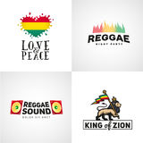 Set of reggae music vector design. Love and peace. Concept. Judah lion with a rastafari flag. King of Zion logo illustration Stock Photography