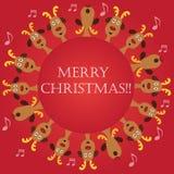 Christmas Carols by Reindeers border stock illustration