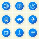 Set Reisen-Ikonen Lizenzfreies Stockbild