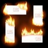 Set reklama sztandary z wystrzykanie płomieniem ilustracja wektor