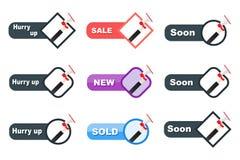 Set reklamowe opcje, sztandar ręka i megafon, speakerphone Różnica reklamowa aktywność ilustracja wektor