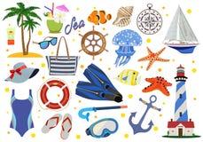 Set rekwizyty dla plażowego wakacje i morza również zwrócić corel ilustracji wektora ilustracji