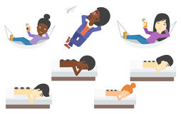 Set of relaxing people and business characters. vector illustration