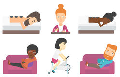 Set of relaxing people and business characters. Royalty Free Stock Photography