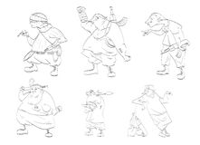 Set of releb characters. Line drawing vector illustrations of rebels, separatists Stock Photo