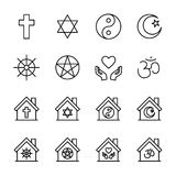 Set of religion icons in modern thin line style. Stock Image