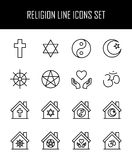 Set of religion icons in modern thin line style. Royalty Free Stock Photography