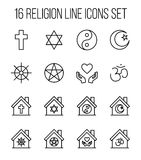 Set of religion icons in modern thin line style. Royalty Free Stock Images