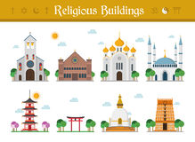 Set of Religious Buildings Vector Illustration Stock Photography