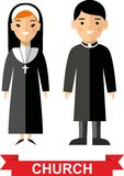 Set of a religious people, priest and nun Royalty Free Stock Photo