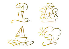 Set of religious symbols (gold). Set of four hand-drawn religious/christian symbols including candle, praying angel, fishing boat and tree Stock Photography