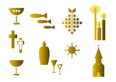 Set of religious symbols (gold) stock illustration