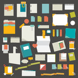 Set of reminders, paper stickers, work office tools, folders. Stock Image