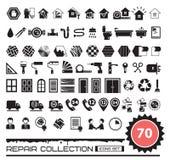 Set remontowe ikony w czarnym kolorze ilustracji
